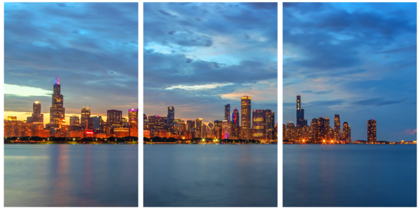Chicago Skyline at Dusk on Independence Day - Acrylic Panel Art