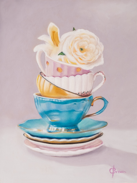 Tippy Teacups - Original pastel painting by Colleen Brown
