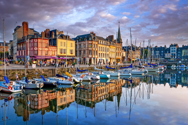 Print Art Honfleur Normandy France Old Harbor Reflections