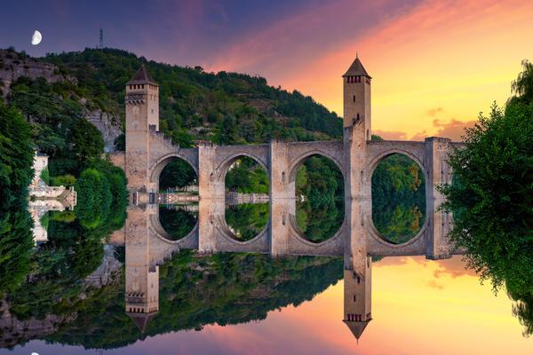 Print Art Cahors France Medieval Bridge