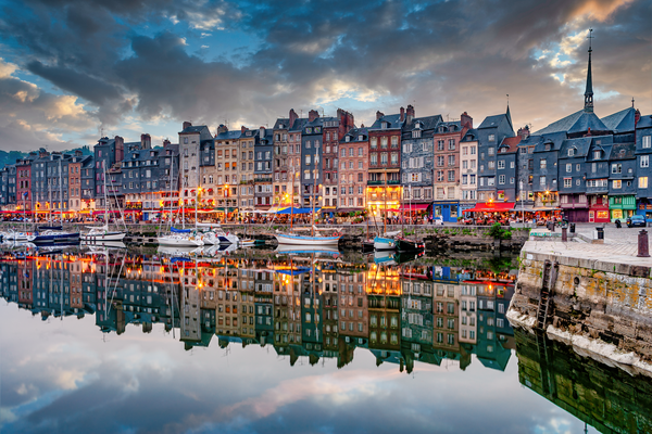 Art Print Honfleur Normandy France Old Harbor and Reflections