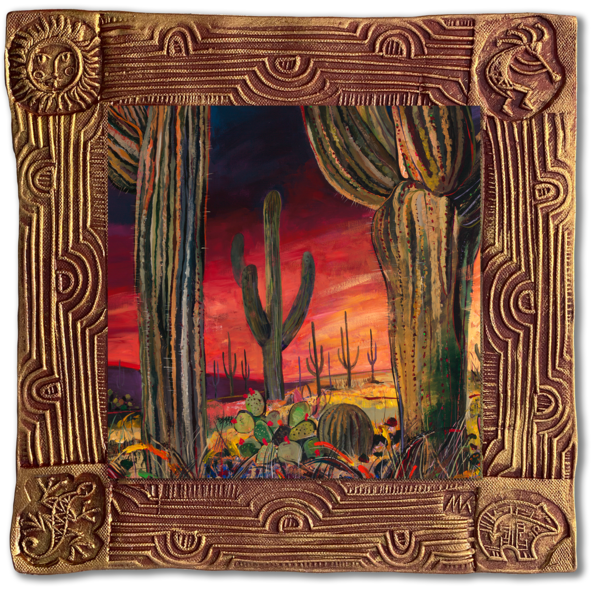 Saguaro Desert I   Sq/Blooming Desert Collection Art | KenarovART Inc