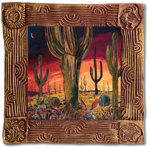 Saguaro Desert Ii   Sq/Blooming Desert Collection Art | KenarovART Inc