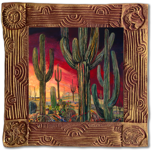 Saguaro Desert Iii   Sq/Blooming Desert Collection Art | KenarovART Inc