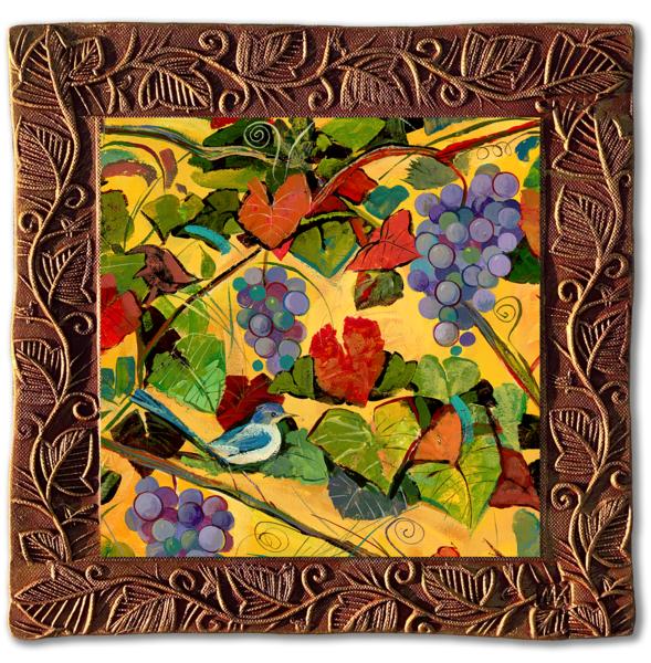 Grapes & Birds I   Sq/Countryside Collection Art | KenarovART Inc