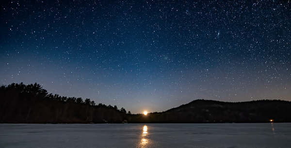 Post Pond Setting Moon Photography Art | Eric Hatch
