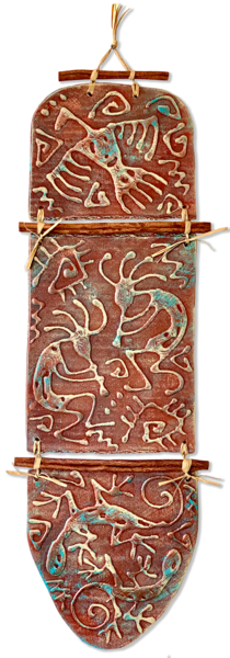 Kokopelli Dance   3p/Decorative Ceramic Art | KenarovART Inc