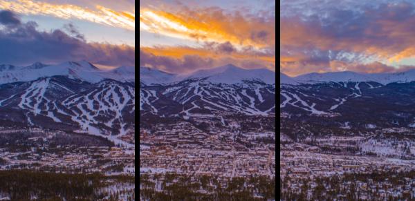 Breckenridge Winter Sunset 3 Panel Photography Art   Alex Nueschaefer Photography