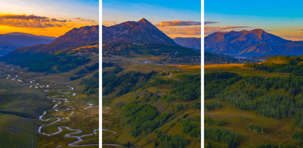 Crested Butte Sunrise 3 Panel Photography Art   Alex Nueschaefer Photography