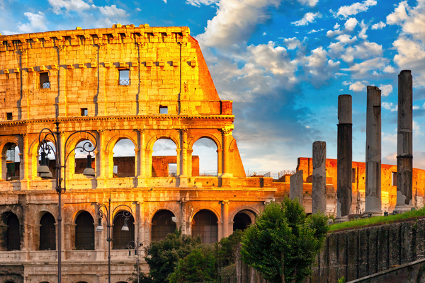 Art Print Rome Italy Colosseum and Sunset