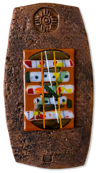 Fused Glass In Clay Frame I/Mixed Media Art | KenarovART Inc