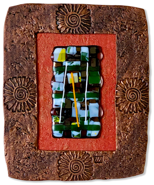 Fused Glass In Double Clay Frame Ii/Mixed Media Art | KenarovART Inc