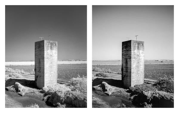 California Landscape Photography-Monolith Sculpture in Farmland-Diptych