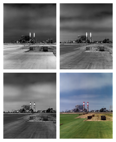 California Landscape Photography-Grass Field and Power Station-Polyptych