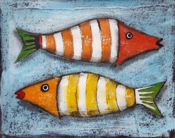 Whimsical Fish | Original On Paper Art | Southern Heart Studio, LLC