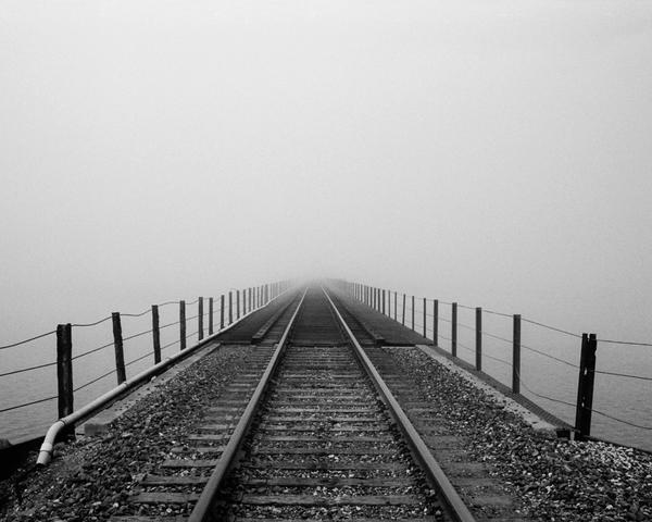 California Landscape Photography - Train Tracks in Dense Coastal Fog