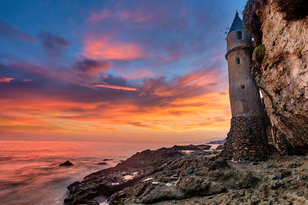 Art Print Victoria Beach Laguna California Pirate Tower
