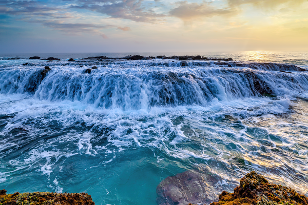 Art Print Victoria Beach Laguna Beach California Waves and Waterfalls