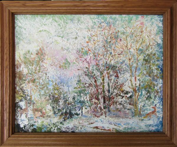 Original oil painting Winter tale