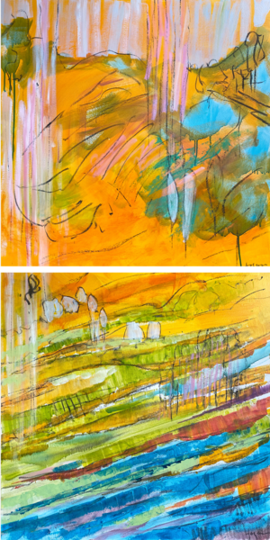 Blue Yellow Abstract Landscape, Vertical Canvas Art by Dorothy Fagan