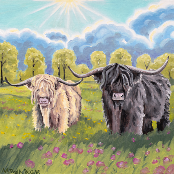'Highland Cows IV' Art for Sale