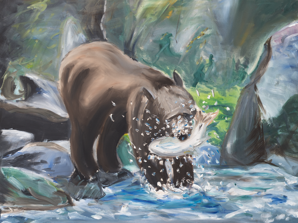 'Bear & Fish' Art for Sale