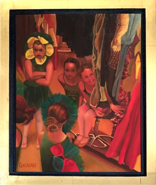 """Backstage"" Young Ballet Dancers Original Oil on Canvas Painting"
