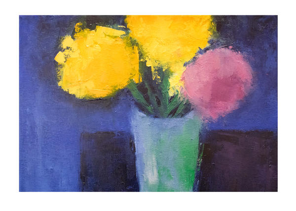 Bright Flowers Against Blue Art Card | Dawn Boyer Fine Art