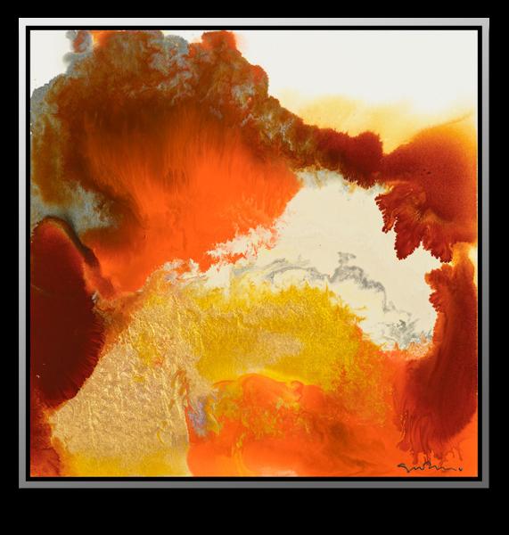 "Simon Bull Available Original Painting - ""Orange + Gold"""