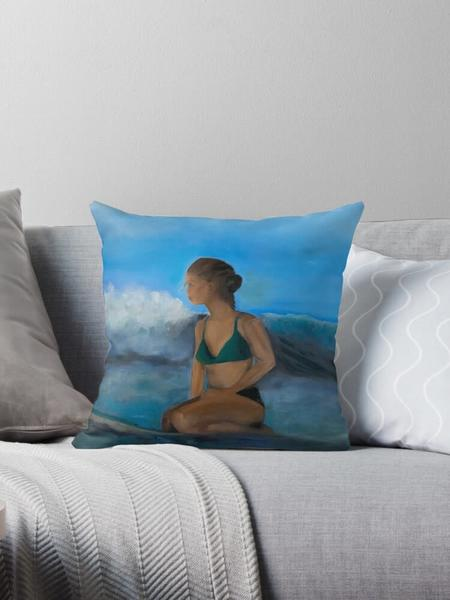 Waiting for the Next Wave Pillow  Designed by Artist