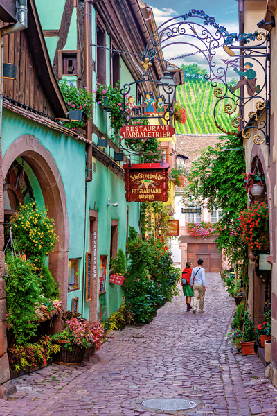 Art Print Colmar France Colorful Alleyway