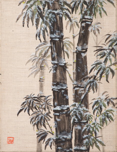 Black Bamboo In Winter On Linen Art | donnadacuti