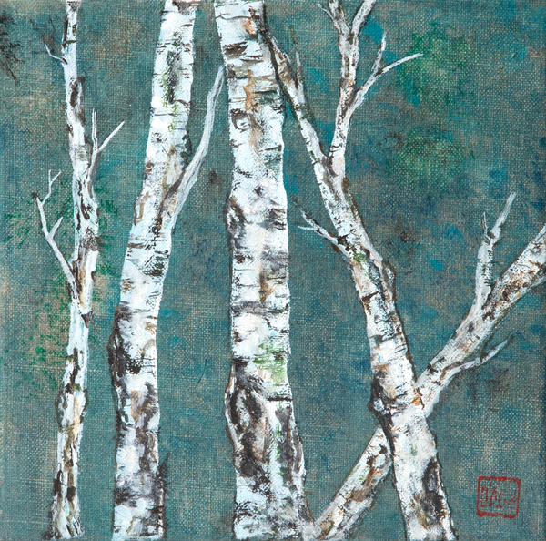 Birch On Dark Turquoise Art | donnadacuti
