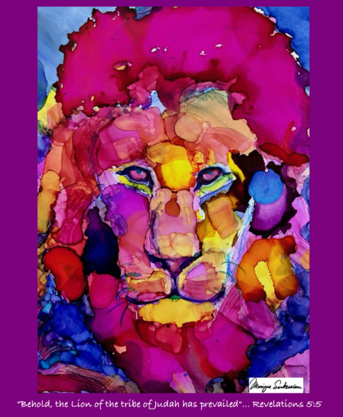 "fleece blanket with ""Magenta Lion"" image art printed on it Lion of the Tribe of Judah by Monique Sarkessian. Prophetic art printed on blankets."
