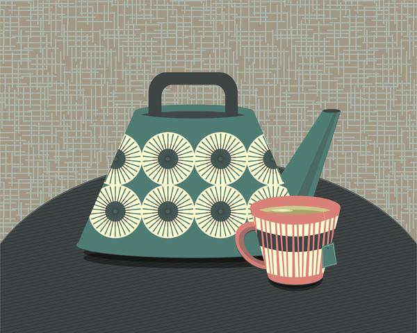Midcentury Teapot 5 Art | Davida Fernandez Studio