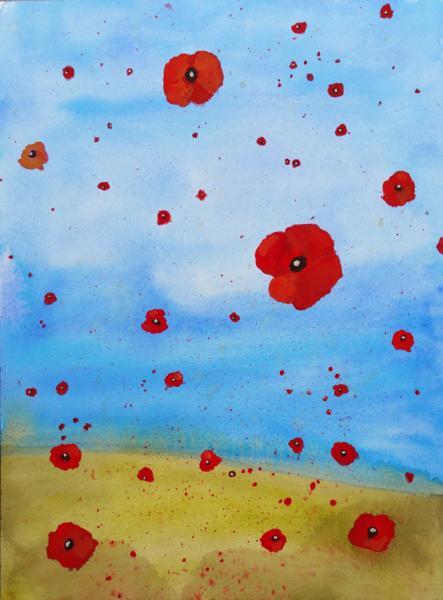 Falling Poppies Art   Davida Fernandez Studio