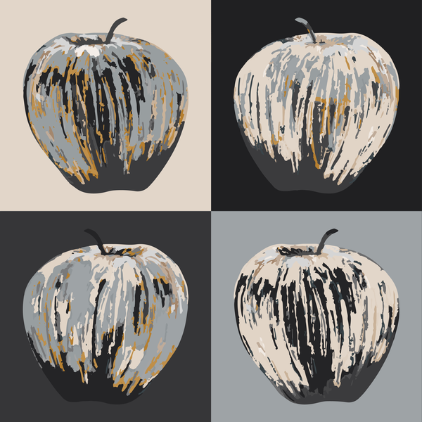 Warhol Apples   Black Grey And Gold Art | Davida Fernandez Studio