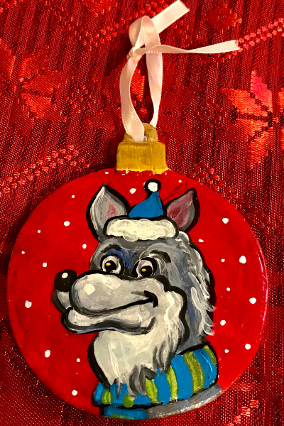 Wolf On A Red Circle | Karen Bishop Artist
