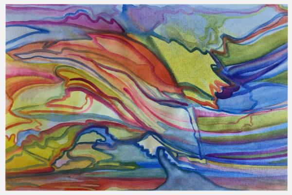 Sunset At The Beach Puzzle | Artist Rachel Goldsmith, LLC