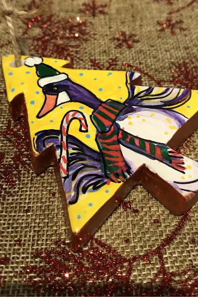 Goose With A Candy Cane | Karen Bishop Artist