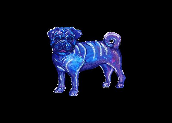 Pug Blue And Purple Ink 5x7 Art | Marie Stephens Art