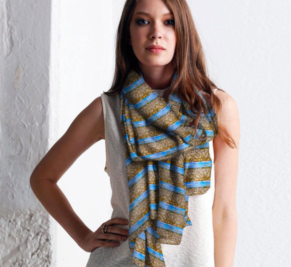 Cotton fields cashmere and silk scarf
