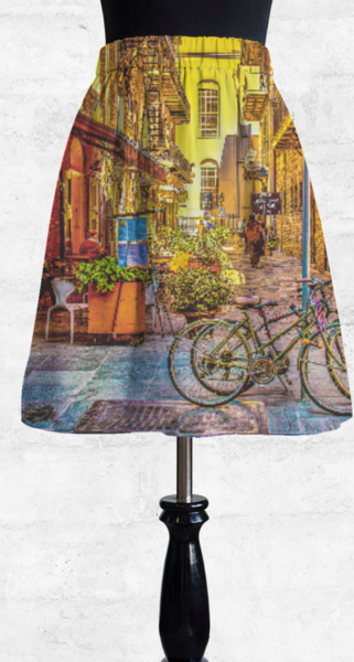 New Orleans streetscape cupro skirt