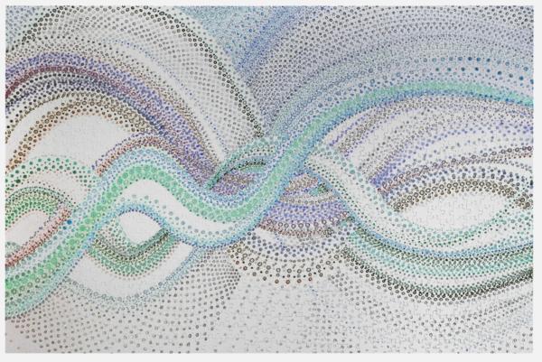 Woven Dots 1   Blues   Puzzle | Artist Rachel Goldsmith, LLC
