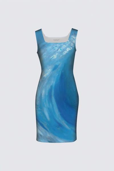 Wave Blue Amanda Dress II Designed by Artist