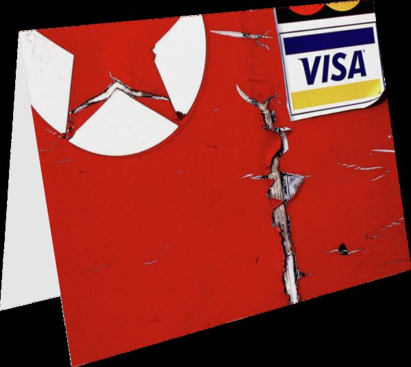 Abstract Red Visa Texaco Fine Art Card - Sherry Mills