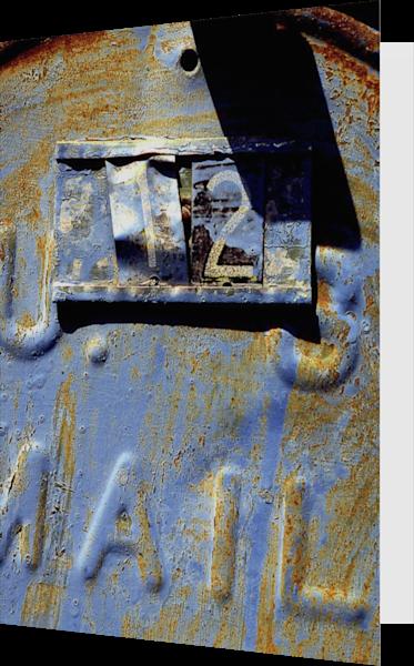 Blue Number 12 Woodstock Mailbox Art Card - Sherry Mills