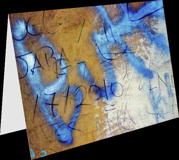 Blue Florence Graffiti Abstract Art Card - Sherry Mills