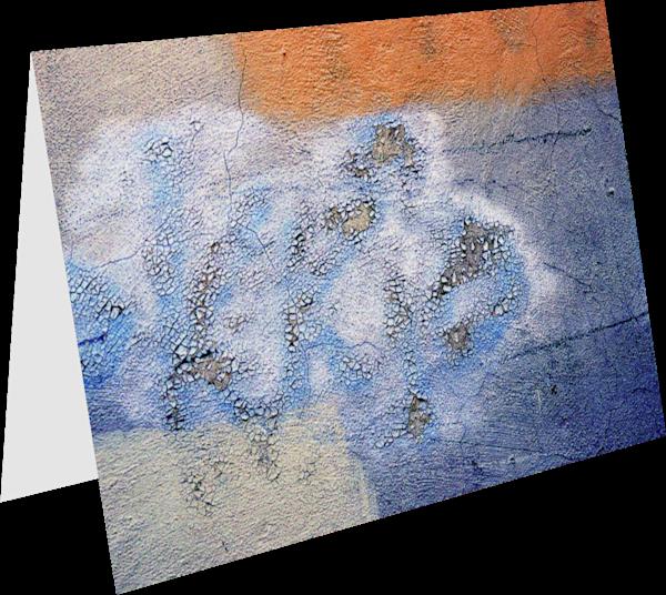 Blue Orange Florence Wall Greeting Card - Sherry Mills