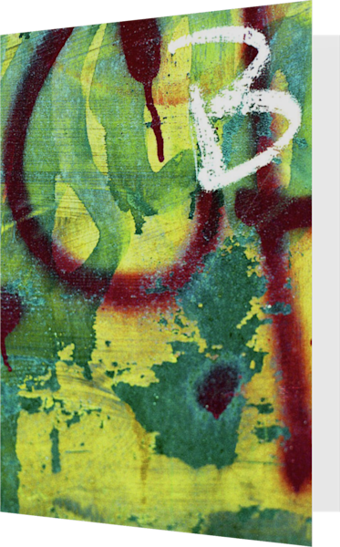 Abstract Yellow B Graffiti Greeting Card – Sherry Mills